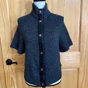 TORY BURCH Gray/Silver Short Sleeve Sweater